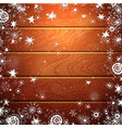 christmas wood background with snowflake vector image