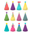 colorful party hats set vector image
