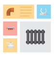 flat icon industry set of flange heater pipework vector image