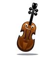Happy brown cartoon wooden violin vector image vector image