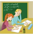 Boy and girl in a classroom vector image vector image