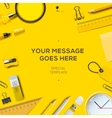 Colorful school supplies yellow background vector image vector image