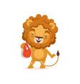 happy lion cartoon character vector image