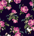 Seamless floral pattern with pink roses on dark vector image