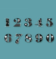 set of black and white floral numerals vector image