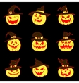 Set of halloween pumpkins with hat vector image