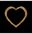Gold heart glittering isolated on black background vector image vector image