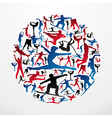 Sports silhouettes circle vector image
