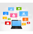 laptop and office network vector image vector image