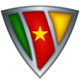 steel shield with flag cameroon vector image vector image