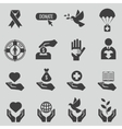 Charity and donation black icons set vector image