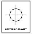 CENTER OF GRAVITY packaging symbol on a corrugated vector image