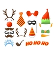 Christmas Party set Glasses hats mustaches vector image
