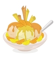 Cup with ice cream wafers and citrus vector image