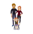 happy family with disabled wheelchair girl vector image