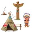 Man wigwam bird totem and fire Indian set vector image