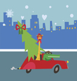 New year cartoon with aligator and giraffe vector image