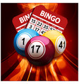 bingo balls and cards on glowing abstract vector image vector image