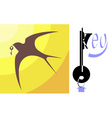 Swallow and key vector image