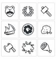 Set of Viking life Icons Barbarian Laurel vector image
