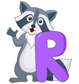 Alphabet R with raccoon cartoon vector image