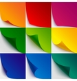 Set of 9 colorful paper curled corners and page vector image