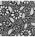 seamless pattern with black and white flowers vector image