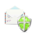 Open Envelope Protected By Shield vector image vector image