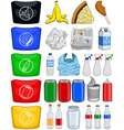 Food Bottles Cans Paper Trash Recycle Pack vector image