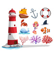 Lighthouse and other ocean things vector image vector image