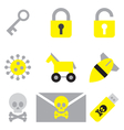 computer network security flat icon set vector image