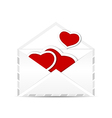 Envelope with set valentine red hearts vector image