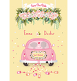 Just married car with save the date wedding vector image