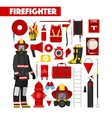 Profession Firefighter Icons Set with Equipment vector image