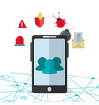 smartphone cyber security system design vector image