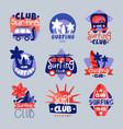 surf club logo templates set surfing club emblem vector image