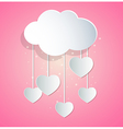 paper hearts and cloud vector image vector image
