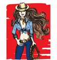 girl cowboy vector image vector image