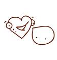 Hand Drawn Talking Love Heart vector image