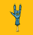 blue cartoon zombie hand shows rock n roll vector image