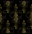 gold cherry flowers seamless pattern vector image