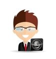 happy businessman speaker network media icon vector image