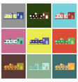 set of icons in flat design train station vector image