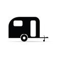 trailer icon camper in black color vector image
