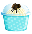 A blue dotted cupcake container vector image vector image