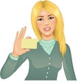 Young woman with a card vector image