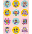 Set of funny owl sketch doodle Seamless pattern on vector image