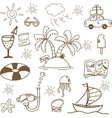 Brown summer holiday doodle vector image