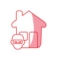 silhouette house with thief danger symbol vector image