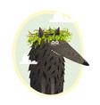 wolf cute portrait with laurel vector image